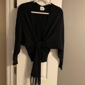 Black tie front sweater